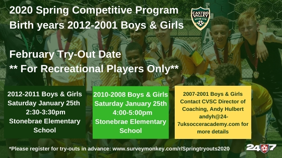 Tryouts for Spring Competitive Soccer